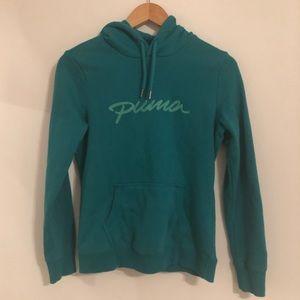 Puma Teal Green Pullover Hooded Sweatshirt